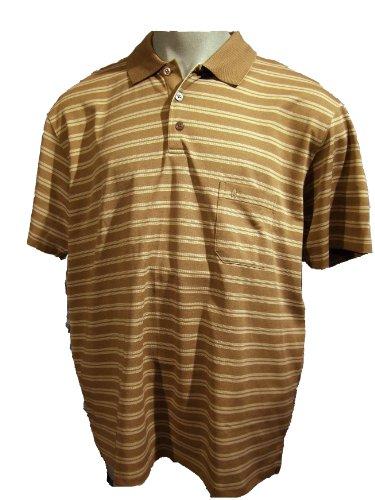 Poloshirt in Softknitqualität von Ragman mit Streifen, kamelfarben XXL - 6XL