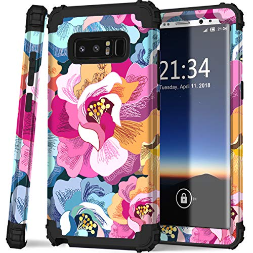 Galaxy note 8 case,PIXIU Soft silicone&Hard Shell Solid PC Back,Shock-Absorption&Anti-Scratch Hybrid Dual-Layer phone case for Samsung Galaxy Note 8 Flower