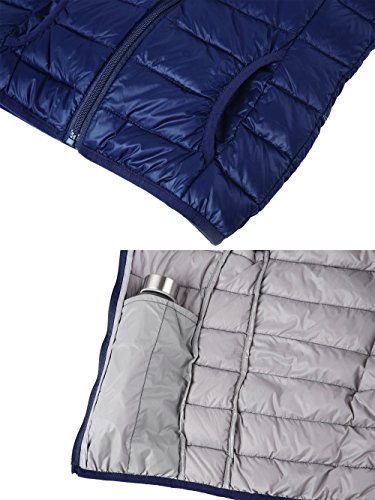 Hooded and Down Wantdo Sleeveless Boy's Jacket Puffer Vest Girl's Navy Packable qUAH5tw
