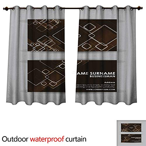 Outdoor Curtains for Patio Sheer Abstract Orange Squares Business Card Vector Design Template W63 x L63(160cm x 160cm)