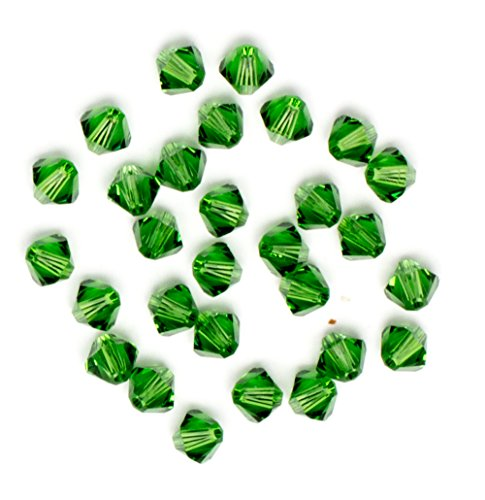 Swarovski - Create Your Style Bicone 4mm Fern Green 3 packages of 30 Piece (90 Total Crystals) (Green Swarovski Glass)