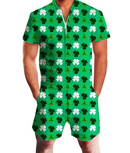 Idgreatim Men Shamrock Clover Romper ST Patricks Day Gift Jumpsuit Overalls Outfits -