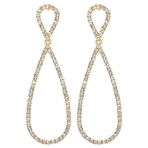 Wedding Bridal Rhinestone Long Drop (Unique Wedding Bridal Party Prom Gold Rhinestone8 Shape Infinity Long Dangle Drop Statement Earrings)
