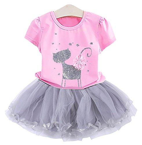 2Bunnies Girl Cat 3D Sequin Bow Sparkle Tutu Butterfly Tulle Skirt Dress Sets (4T, Bubblegum Pink) -