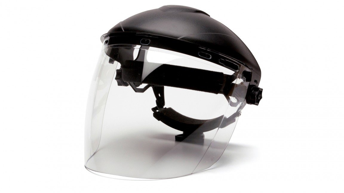 Pyramex S1110 Polycarbonate Tapered Clear Faceshield, Tapered Clear Visor