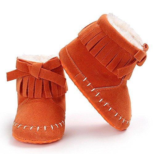Xshuai Baby Mädchen Soft Sole Beuten Anti-Rutsch Schnee Stiefel Kleinkind Neugeborene Warming Schuhe Orange