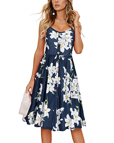 KILIG Women's Summer Floral Dress Spaghetti Strap Button Down Sundress with Pockets(C005,M)
