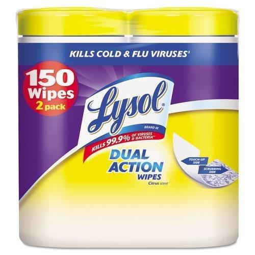 RECKITT BENCKISER PROFESSIONAL 84922 Disinfecting Wipes, 7 x 8, Citrus, 75/Canister, 2/Pack