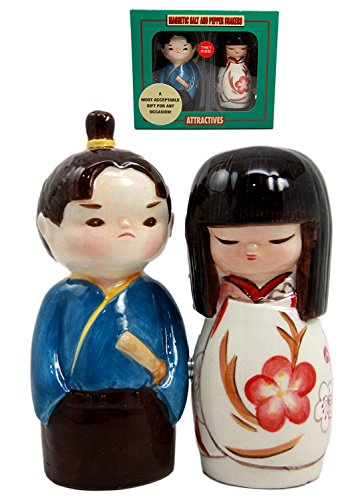 Atlantic Collectibles Japanese Kokeshi Couple Ceramic Magnetic Salt Pepper Shakers Set Figurines
