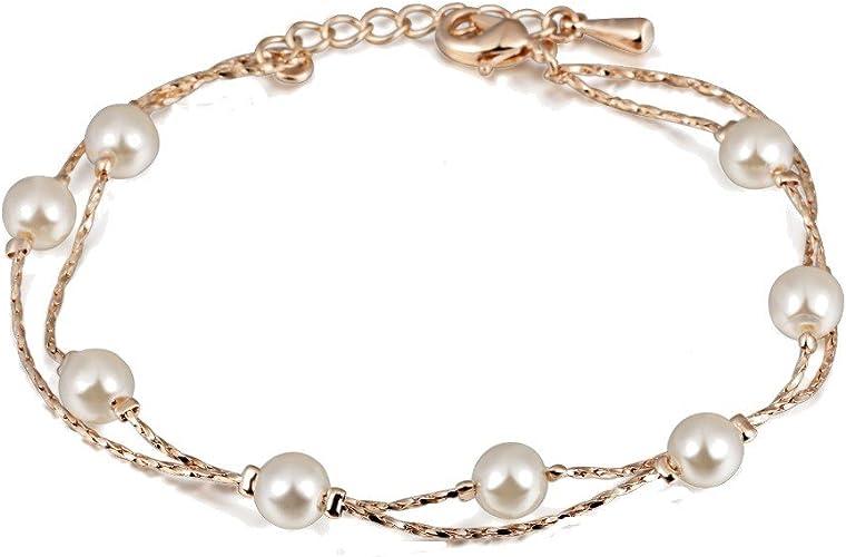 Pulsera con Cristal Swarovski Perlas blancas simuladas 18k Chapado en oro para mujer