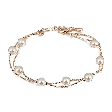 cedccec8bf50 Pulsera con Cristal Swarovski Perlas blancas simuladas 18k Chapado en oro  para mujer 20 cm  Amazon.es  Joyería