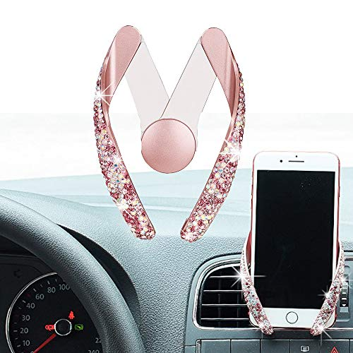 (ATMOMO Pink Crystal Rhinestone Car Phone Mount Bling Air Vent Car Cell Phone Holder Adjustable Holder)