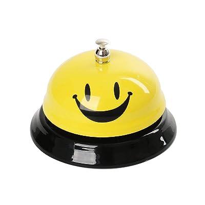 Funhoo Timbre de Recepción Clásico Emoji Cara Sonriente, Timbre de Mesa / Llamada, Campana de Servicio de Metal para Portero, Cocina, Restaurante, Bar, Mascotas Juego de Mesa: Juguetes y juegos