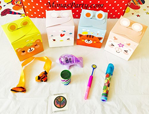 12x Pack Goody Bags Pre Made & Filled with Toys, Boys & Girls Goodie Bag, Filled Goody Bag / Loot Bag, Light up Toys & Candy; Pencil; Eraser; Sharpener