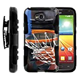 MINITURTLE Case Compatible w/ LG L70 Case, Ultimate 2 Case, Realm | Hybrid Dual Layer Belt Clip Holster Stand Hard Shell Case Basketball Artwork Nothing but Net