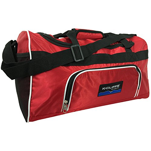 """Price comparison product image Dobby Nylon Medium Sports Duffel Bag Fitness Gym Bag Hand Carry On Luggage Travel Bag 20"""" Equipment Gear Bag Red"""