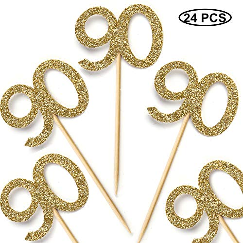Pack of 24 Cupcake Toppers 90th - Anniversary or Birthday Cake Picks Party Decoration | Gold 90th
