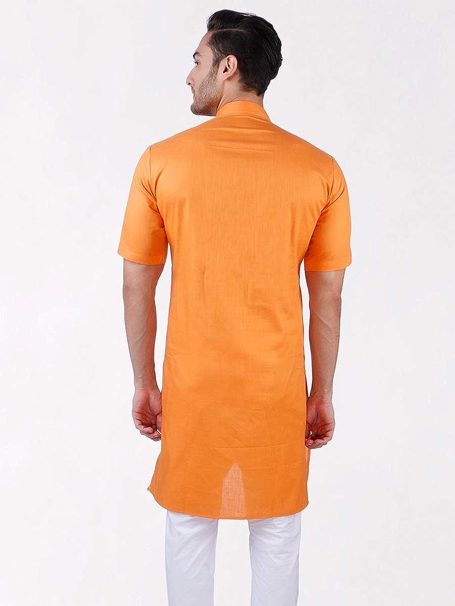 Half Sleeve Rajubhai Hargovindas Mens Orange Tussar Cotton Kurta