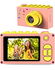 FISHOAKY Camera kinderen, digitale camera videocamera fotoapparaat kinderen Full HD 1080P / 8MP / 4X digitale zoom / 2 inch LCD-scherm / 32G TF-kaart (roze)
