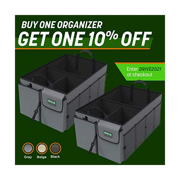 51AnRIAgjzL Drive Auto Products Kofferraum Organizer - Praktische Kofferraumtasche mit Fächern - Einkaufskorb, Aufbewahrungsbox für…