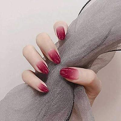 Jovono - 24 uñas postizas de color rojo degradado con cabeza ...