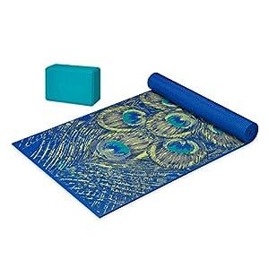 Gaiam Premium Cushion & Support Yoga Kit (Yoga Mat + Yoga Block), Sapphire Feather, 6mm