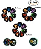 Cheerhas 21pcs Skull Guitar Picks Celluloid Skull Sets Double Side Color Printing Include Thin Medium Heavy Acoustic Electric 7 Style +'Click-Clack' Box (0.46/0.71/0.96mm, Skull Style 2)