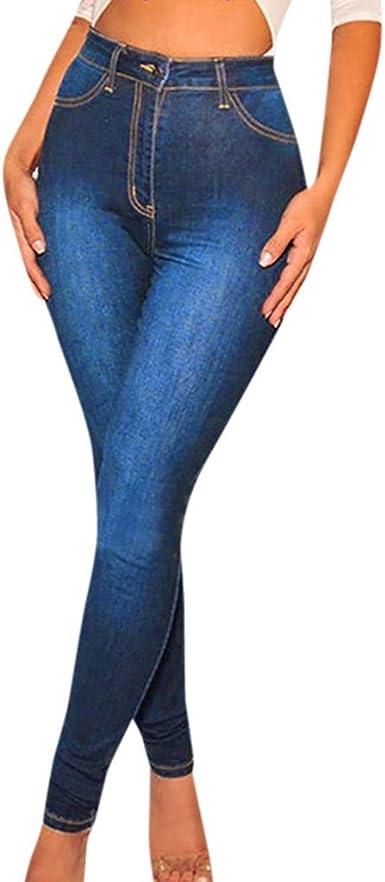 Ansenesna Mujer Pantalones Vaquero Skinny Push Up Pantalones Elastico Jeans Cintura Alta Mezclilla Con Cintura Elastica Gran Altura Pantalones Delgados Y Elasticos Amazon Es Ropa Y Accesorios