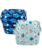 ALVABABY Swim Diapers Reuseable Washable Adjustable 0 to 36 mo.for Infants Toddlers 2 Pack One Size Swimming Lesson