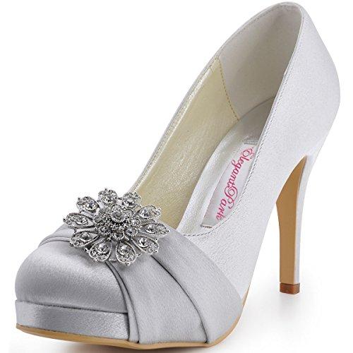 ElegantPark EP2015 Women Pumps Closed Toe Platform High Heel Buckle Satin Evening Dress Wedding Shoes Silver US 8