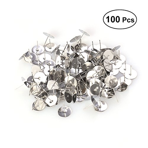 Healifty 100Pcs Stainless Steel Post Ear Studs Findings Ear Stud Components For DIY Earrings Jewelry Making Studs Ring Post (Silver