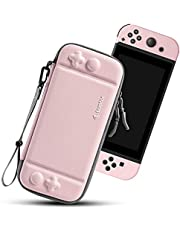 tomtoc Carry Case for Nintendo Switch, Ultra Slim Hard Shell with 10 Game Cartridges, Protective Carrying Case for Travel, Portable Pouch with Original Patent and Military Level Protection, Pink