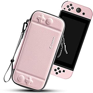 tomtoc Carry Case for Nintendo Switch, Ultra Slim Hard Shell with 10 Game Cartridges, Protective Carrying Case for Travel, with Original Patent and Military Level Protection, Pink