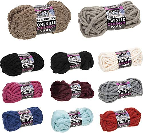 Knitting Yarn Super Chunky ARM Knitting Crochet Chenille Material – Great for Hand Made Blankets, Scarfs ETC – 265G (Taupe – 22m – Pack of 3)
