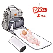 Diaper Bag backpack with 2 Changing Pads, Apicallife Unisex Large Backpack Diaper Bag with Buit-in USB Port Perfect for Travel, Grey