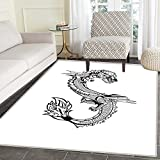 Japanese Dragon Rug Kid Carpet Ancient Far Eastern Culture Esoteric Magical Monster Symbolic Thai Style Home Decor Foor Carpe 3'x4' Black White