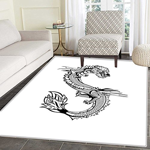 Japanese Dragon Rug Kid Carpet Ancient Far Eastern Culture Esoteric Magical Monster Symbolic Thai Style Home Decor Foor Carpe 3'x4' Black White by Carl Morris