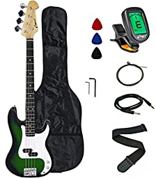 Crescent Electric Bass Guitar Starter Kit - Translucent Green Color (Includes CrescentTM Digital E-Tuner)