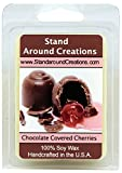 100% All Natural Soy Wax Melt Tart - Chocolate Covered Cherries: Sweet Maraschino Cherries smothered in Milk Chocolate, with a Dry Down of French Vanilla.- 3oz - Naturally Strong Scented