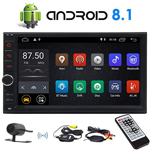- Android 8.1 Oreo Car Stereo 7 Inch Capacitive Touch Screen Double 2 Din Car GPS Navigation Radio Support Bluetooth OBD2 DVR 4G WiFi AM FM RDS Radio with Wireless Remote and Wireless Rear Camera