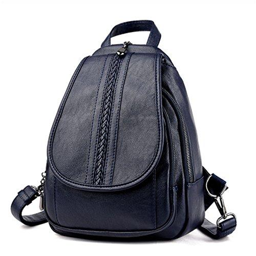 Llegada la mujer Mochilas de cuero mochilas chicas estudiantes universitarios simple viento Preppy mochilas Negro