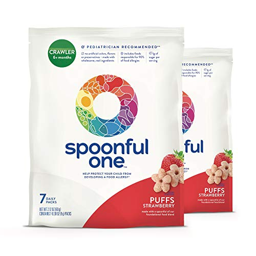 SpoonfulOne Strawberry Puffs: A simple and safe approach to help protect babies from developing a food allergy. 14-count supply of baby food puffs for Crawlers 6+ months ()