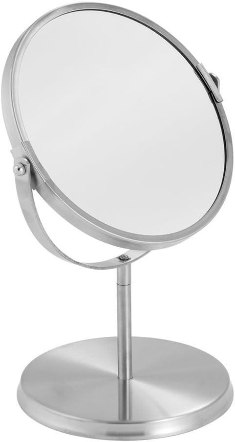 mDesign Swivel Free Standing Vanity Makeup Mirror for Bathroom Countertops - Brushed Stainless Steel