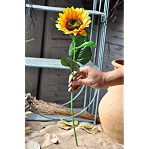Charmly Artificial Sunflowers 5 Pcs Long Stem Fake Sunflowers Artificial Silk Flowers for Home Hotel Office Wedding Party Garden Decor 23.5'' High 3