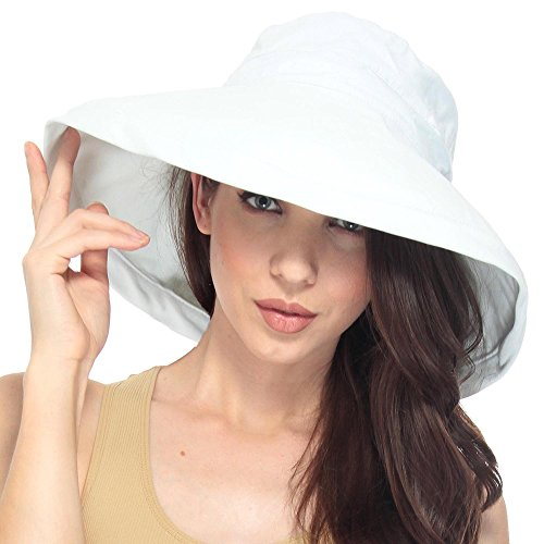 simplicity-summer-solid-cotton-bucket-hat-cap-with-big-fold-up-brim-white