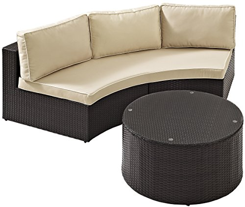 Crosley Furniture Catalina 2-Piece Outdoor Wicker Coffee Table and Sectional Sofa with Sand Cushions – Brown