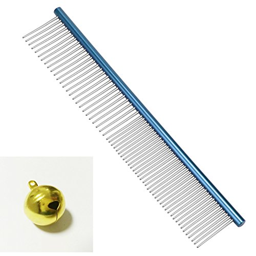 BPS Color Steel Comb 7-1/2 Inch Great Comb for Dog Metal Comb for Cat Straight Comb for Cavapoo,Yorkie,Maine Puppy Color Comb with Gift Golden Bell 19x3cm(blue) by BPS