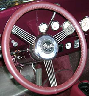 product image for Wheelskins Genuine Leather Burgundy Steering Wheel Cover Compatible with Volkswagen Vehicles -Size C