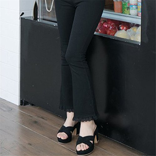 Slippers Women Slides Open Heel Toe Sandals Heeled On Shoes Slip Platform Black Slide High BY0NE OYnWxRqAdO