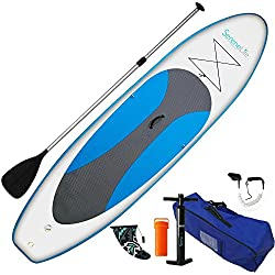 SereneLife Inflatable Stand Up Paddle Board (6 Inches Thick) Universal SUP Wide Stance w/Bottom Fin for Paddling and Surf Control | Non-Slip Deck | Youth and Adult (Marine Blue)